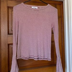 Anthropologie Striped Bell Sleeve Top